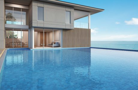 sea view house with pool in modern design